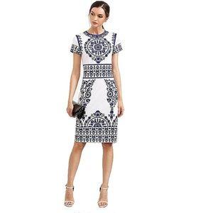 LUMI Stunning Navy and White Print Work Dress